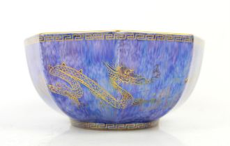 Wedgwood octagonal lustre bowl, the exterior with gilt dragons chasing a flaming pearl on a blue
