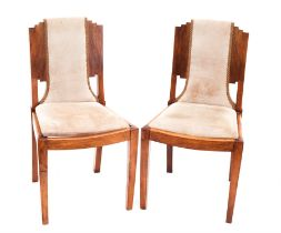 """Six Art Decco """"Skyscraper"""" side chairs with stepped backs on square tapering front supports,"""