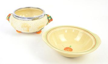 Clarice Cliff 'Celtic Harvest' bowl, diameter of rim 17.5cm, and another Clarice Cliff bowl,