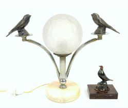 Art Deco bird lamp with chrome branches supporting two birds mounted either side of textured opaque