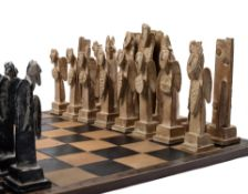 John Maltby (British, 1936-2020) chess set created as a single edition piece for the Millennium
