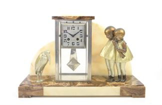 Art Deco mantel clock with a figure of two girls one side and a Marabou bird the other,