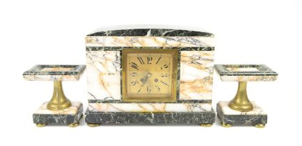 Art Deco marble clock garniture, the central 8 day clock with square gilt dial with Arabic numerals,