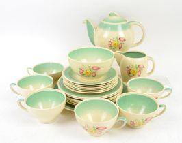 Susie Cooper Dresden Spray tea set pattern 1014, comprising a teapot, milk jug, bowl, six tea cups,
