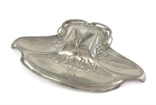 WMF pewter inkstand, with glass inkwell (lacking lid), decorated with flowers, 33.5cm wide,