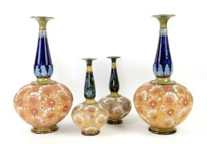 Pair of Royal Doulton Slaters Patent stoneware vases, with blue glazed elongated necks and typical