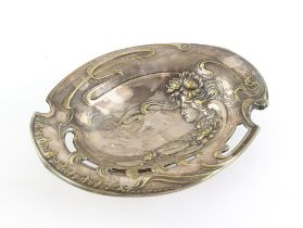 Austrian Art Nouveau silver plated dish, with nymph and water lilies, on spreading base, H7 x W29.
