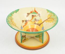 Clarice Cliff unusual Secrets pattern bowl on triangular feet with integral circular stand base,