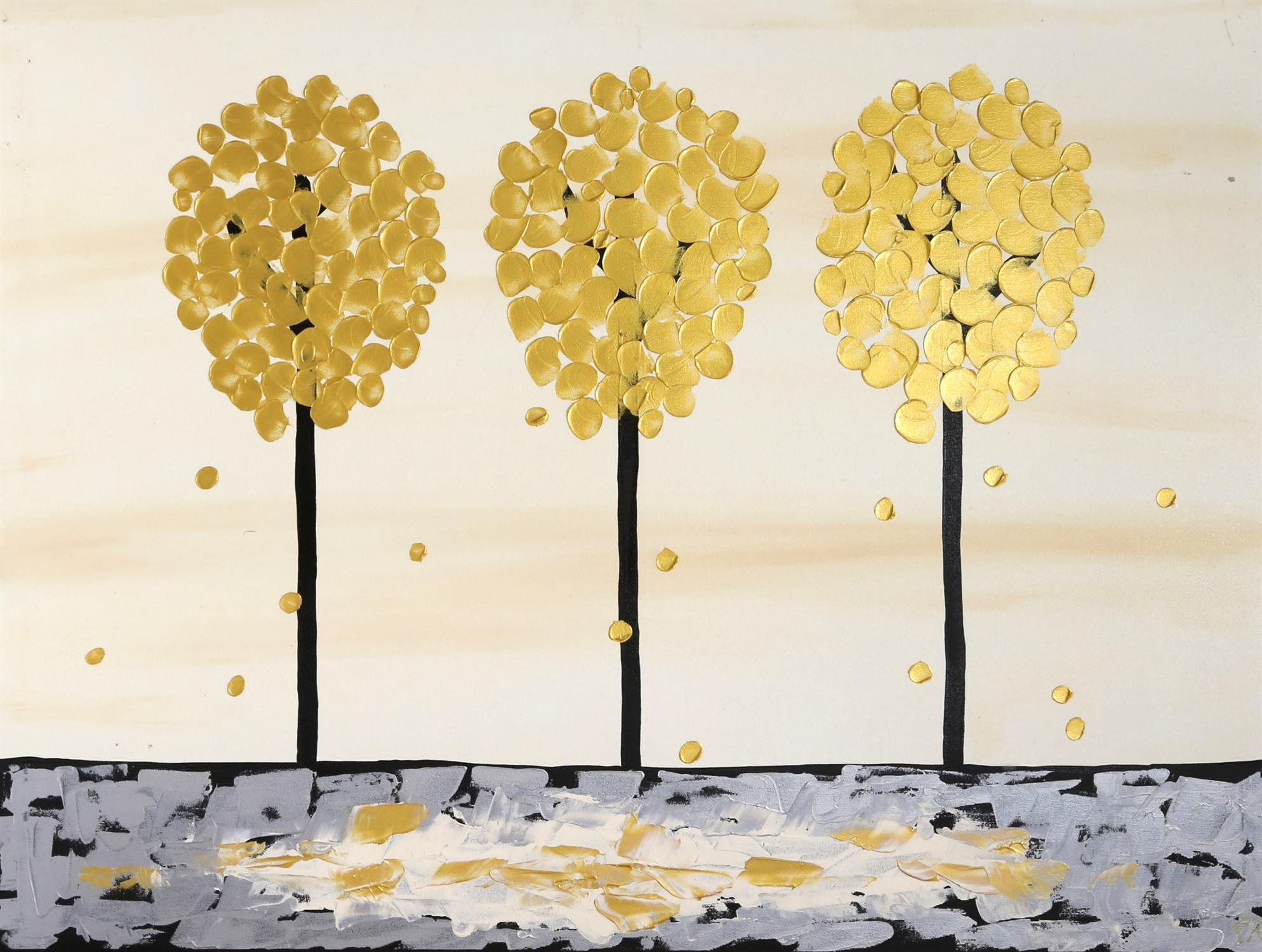 Piero Montanelli, 20th/21st century, three trees, in black. gold and grey, signed with initials and