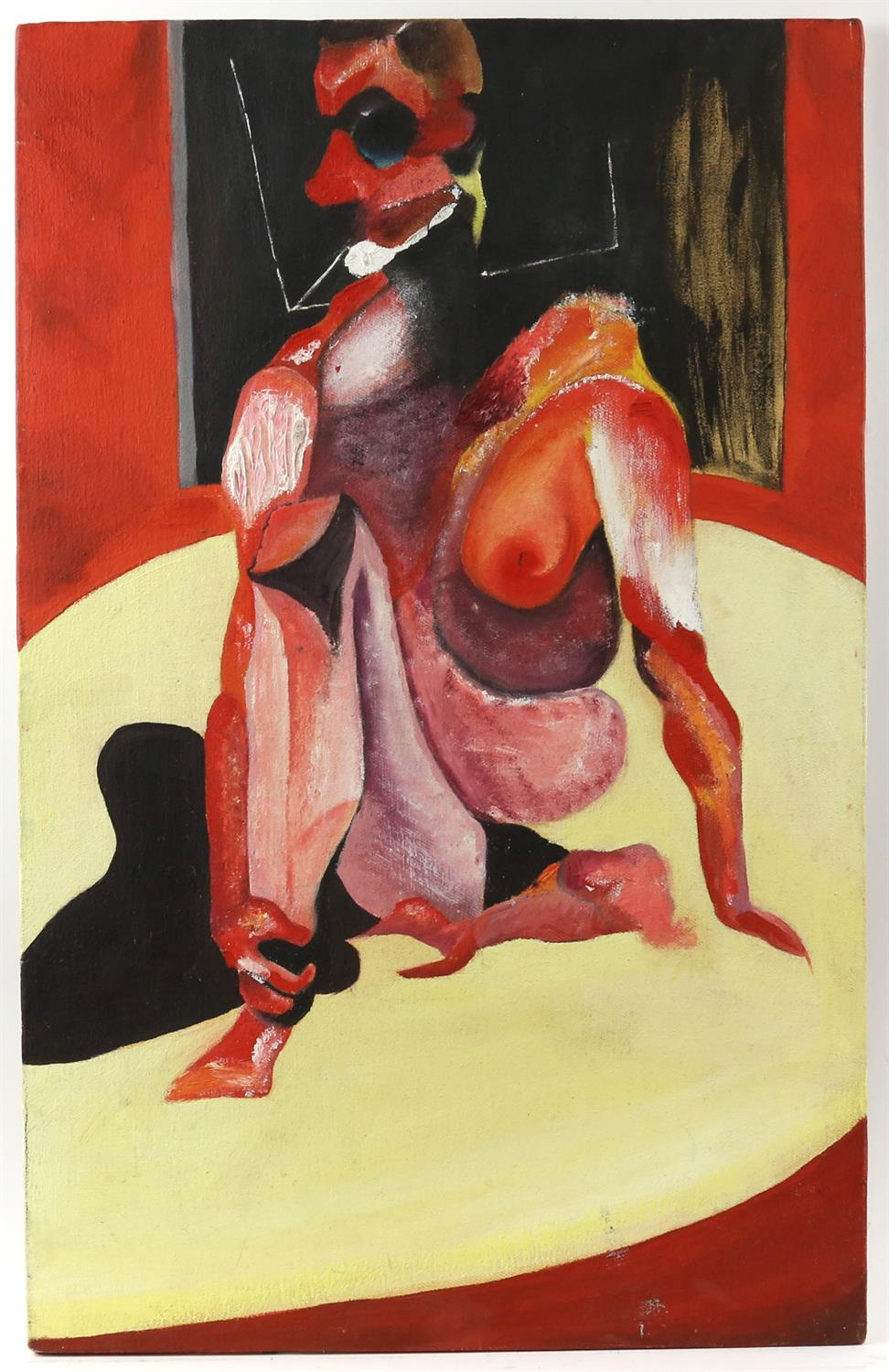 Unknown artist (signed 'Preston-Maher' verso). Nude figure in the style of Francis Bacon.