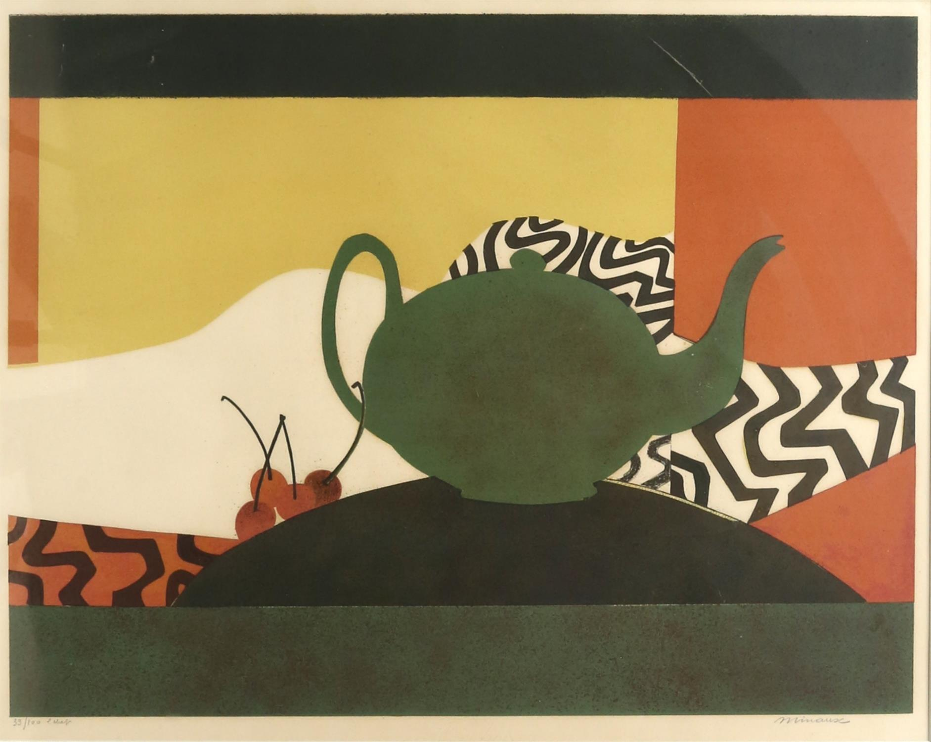 Andre Minaux (French 1923-1986). Still Life with Teapot and Cherries. Limited Edition (23/100)