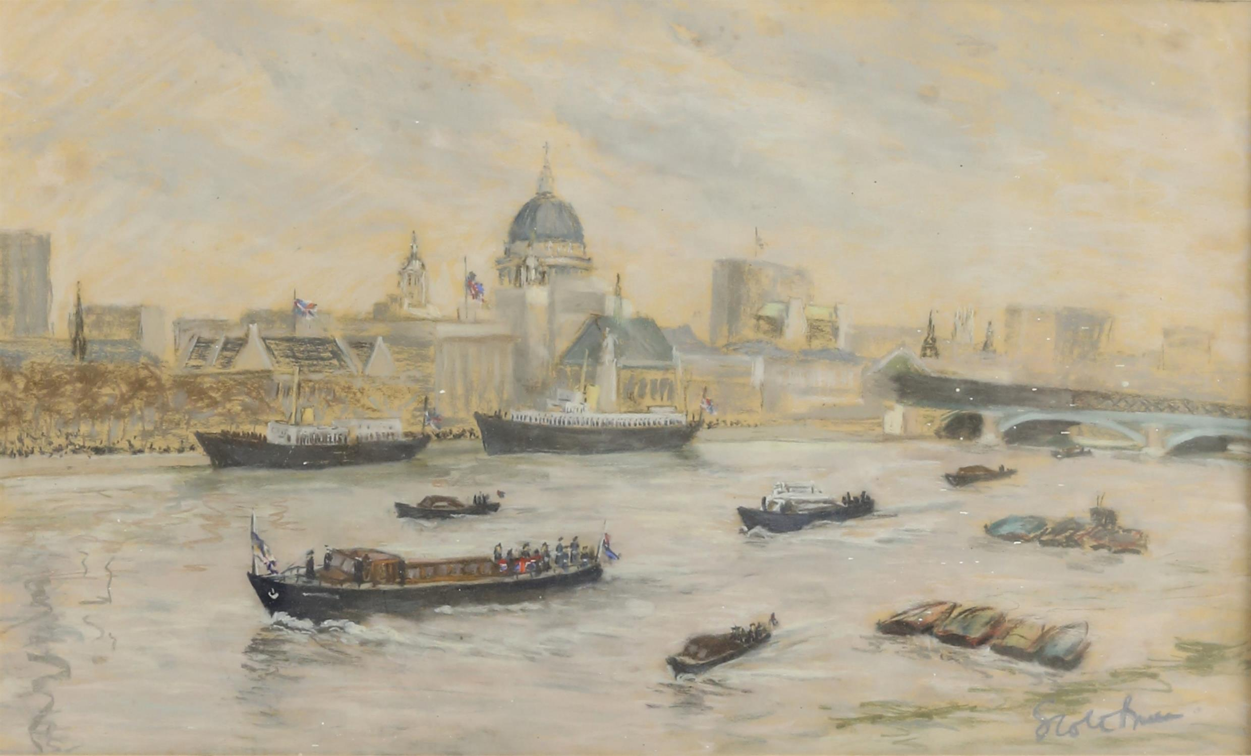 Walter Graham Scott Brown (1887-1987). Boats in the Pool of London. Pastel, signed lower right and