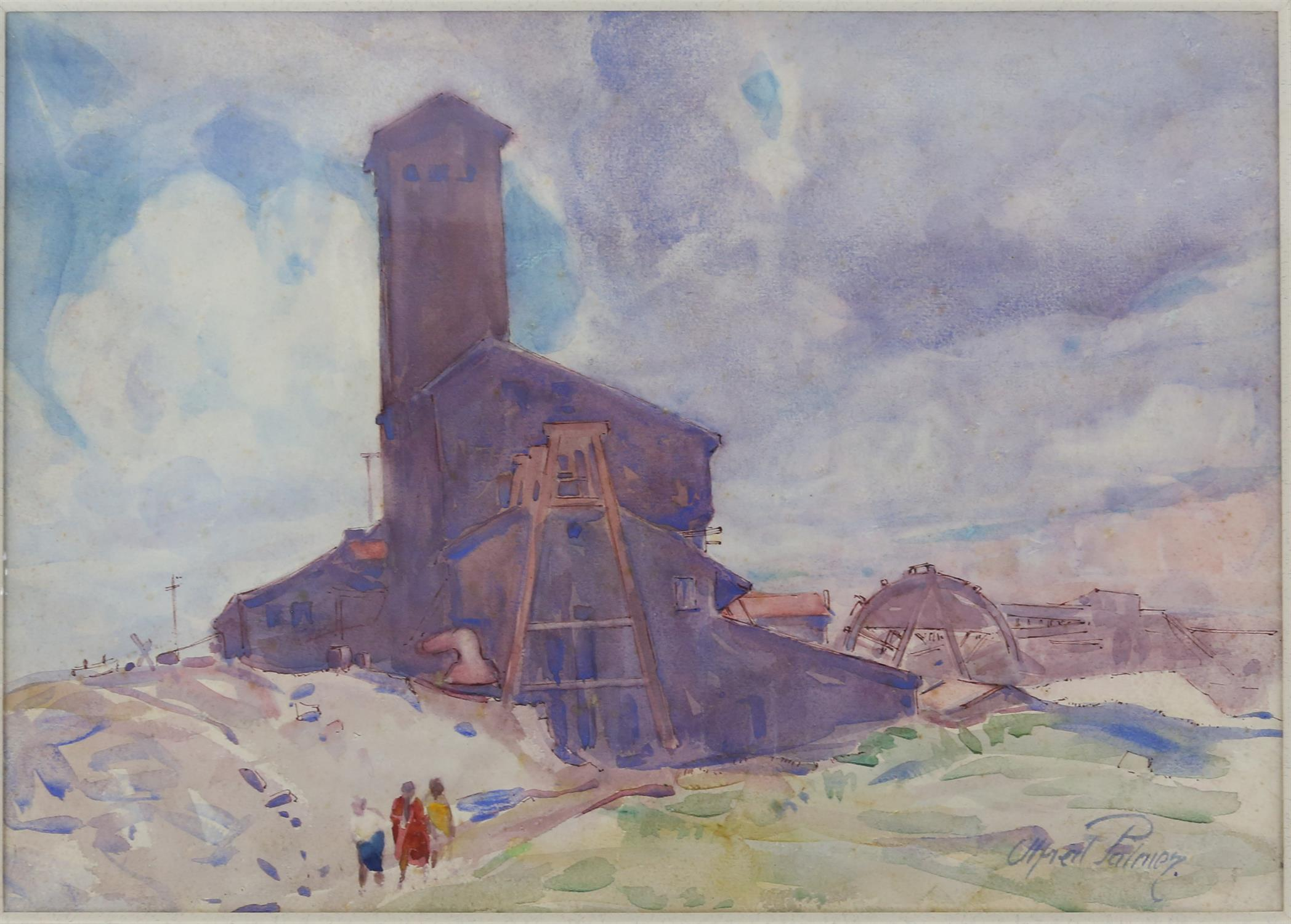 Alfred Palmer (British,1877-1951). Figures by a Tall building. Watercolour, signed lower right 26 x