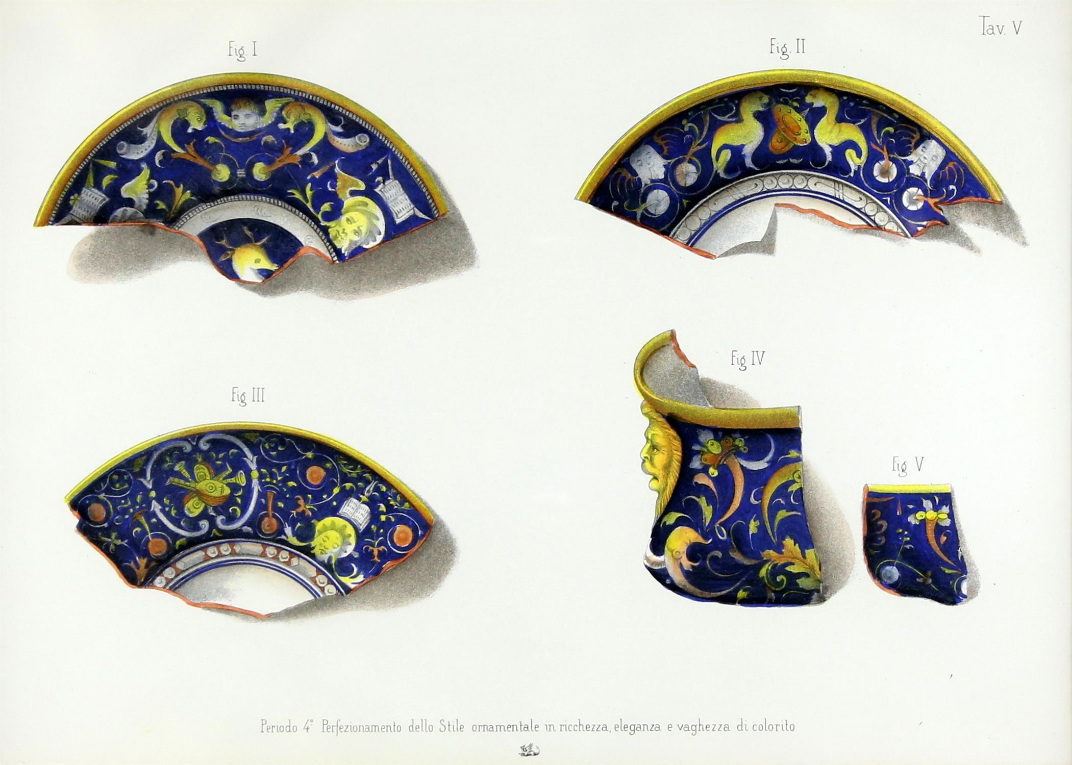 Five contemporary Italian lithographs, depicting ceramics of various Italian origins, - Image 4 of 10