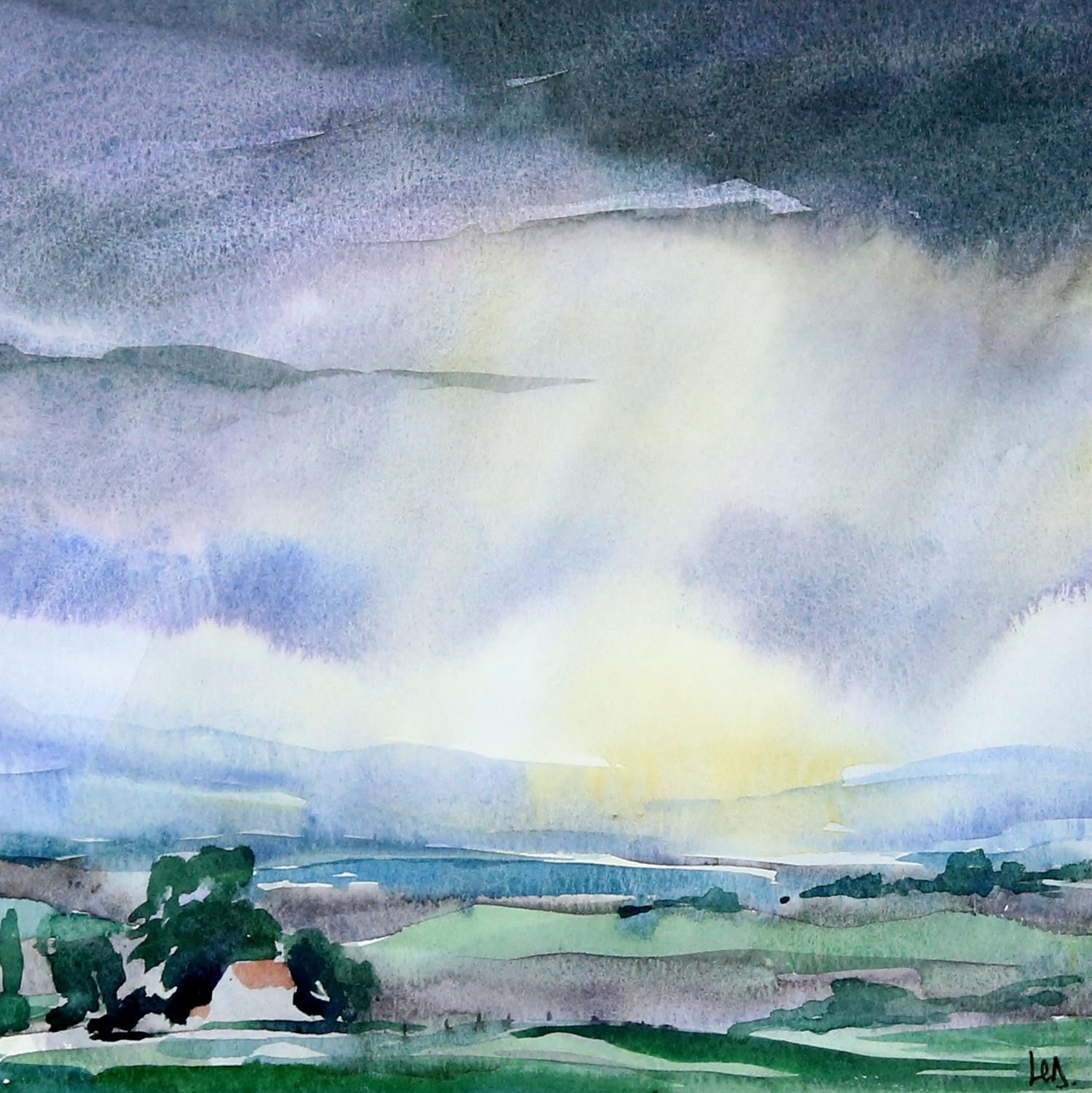 Landscape with sky, watercolour on paper, signed with monogram HD? lower right. 22.5 x 22.5cm.