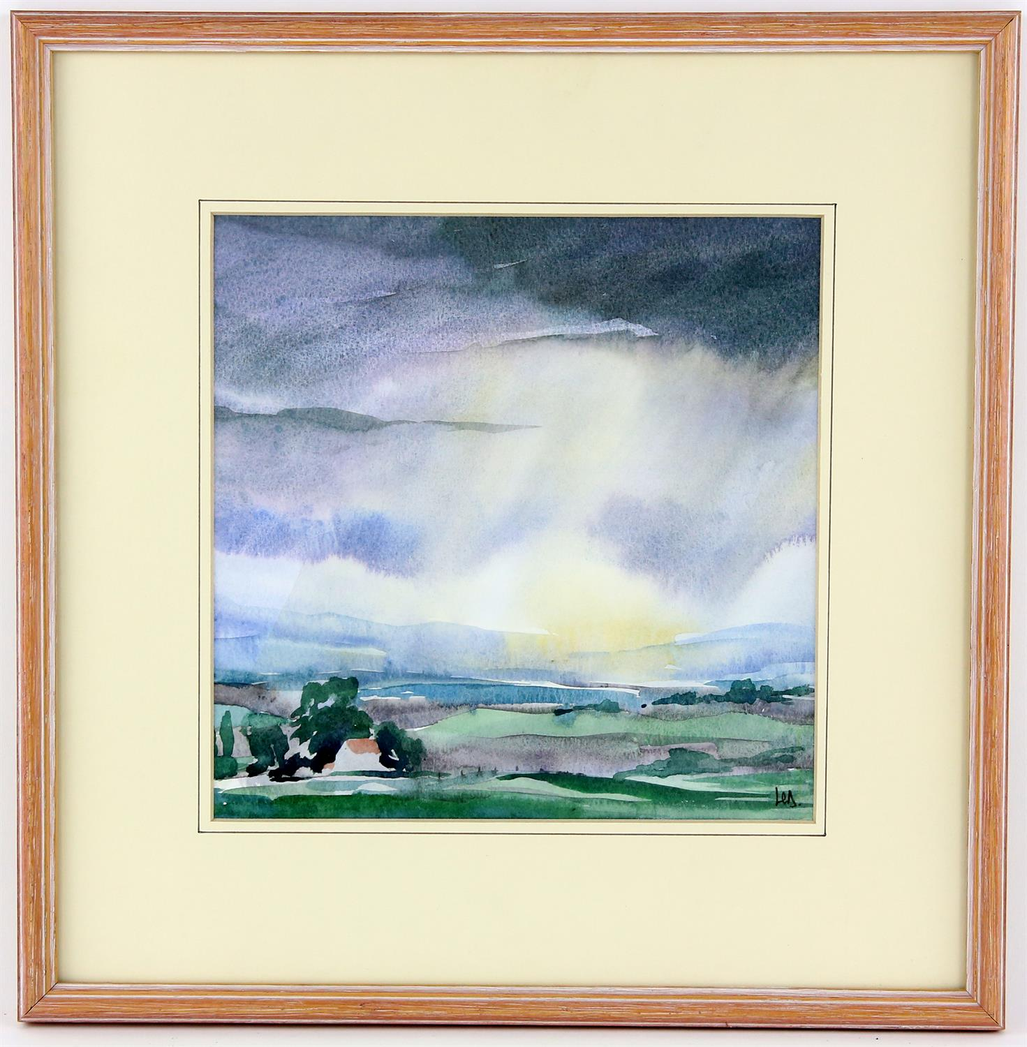 Landscape with sky, watercolour on paper, signed with monogram HD? lower right. 22.5 x 22.5cm. - Image 2 of 2