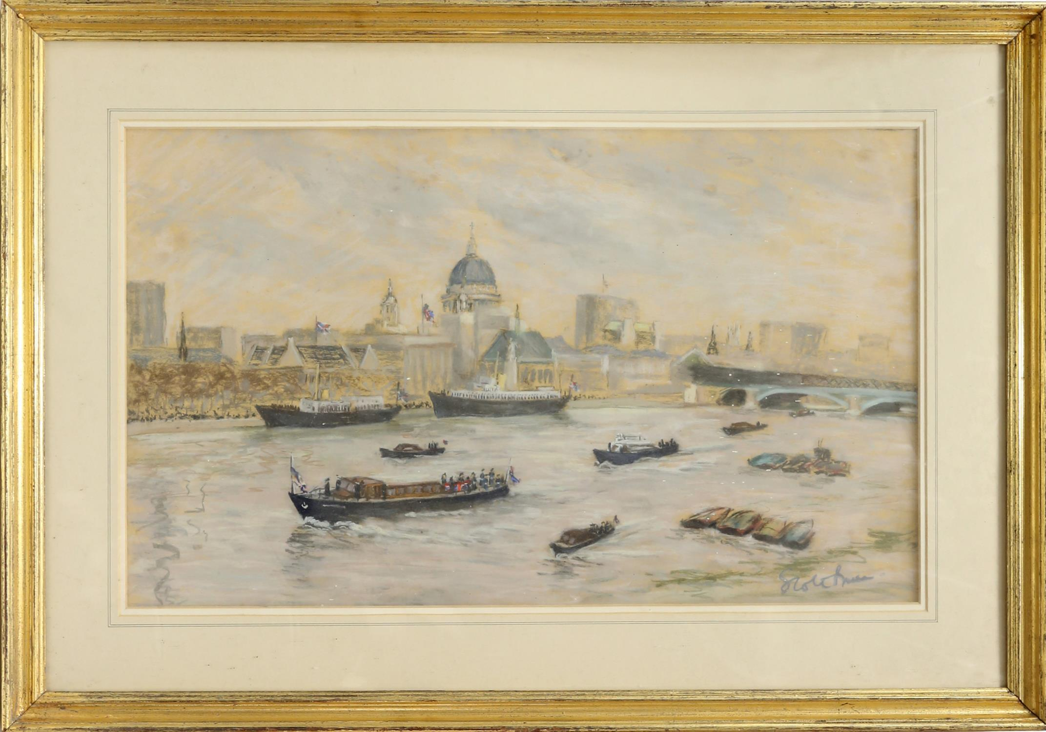 Walter Graham Scott Brown (1887-1987). Boats in the Pool of London. Pastel, signed lower right and - Image 2 of 3