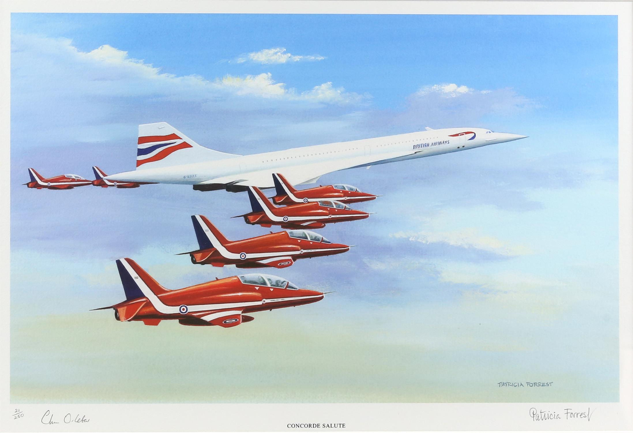 Patricia Forrest (20th Century). 'Concorde Salute', limited edition print, titled,