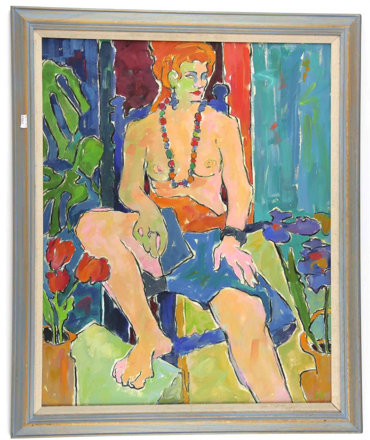 Susan Kirkman (20th century). Portrait of a seated girl. Oil on canvas. Signed with initials lower - Image 2 of 3