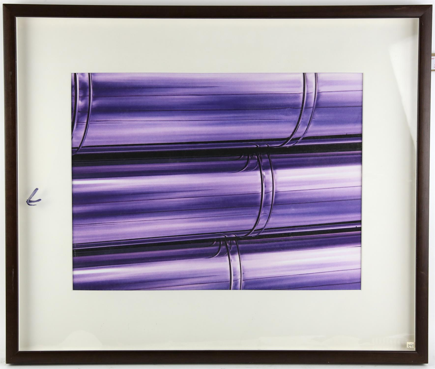 Lever, 'Chrome Stacks'. Three abstract lithographs in purple. Image size 35 x 46cm each. - Image 2 of 2