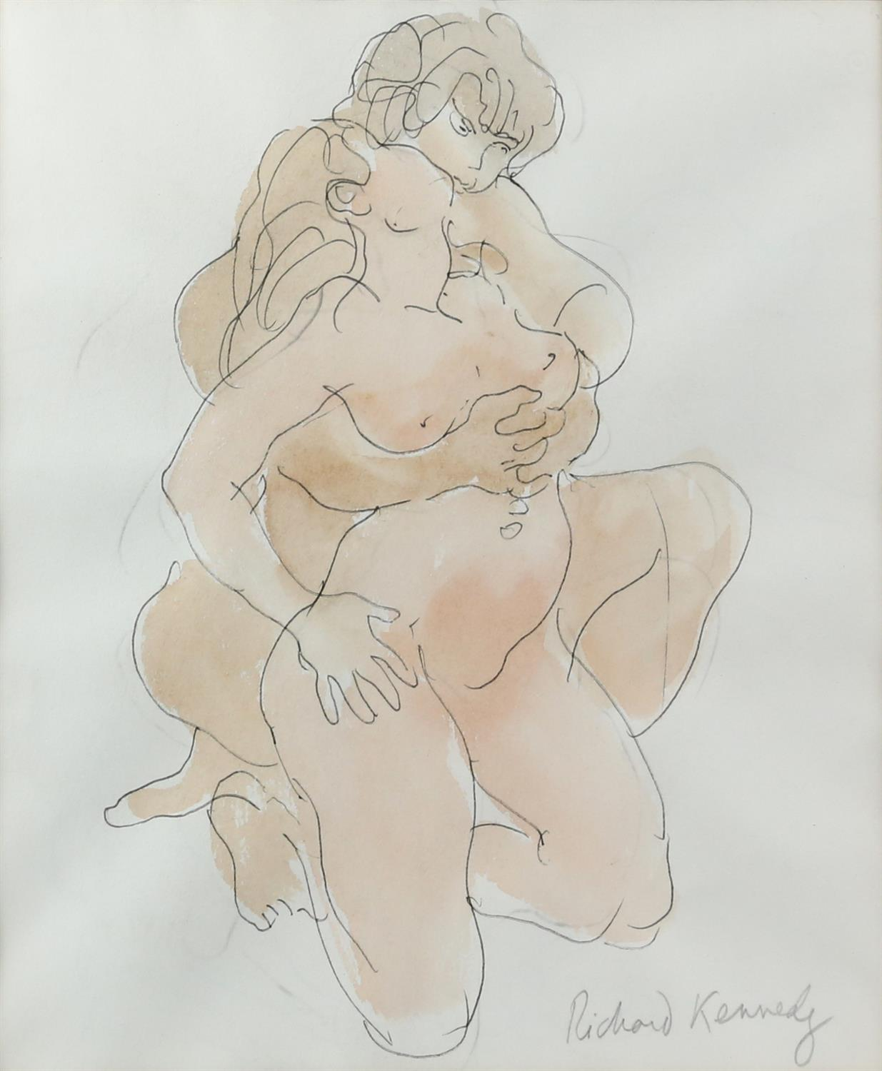 Richard Pitt Kennedy (British,1910-1989). Portrait of a Naked Couple Caressing. Pen and ink with