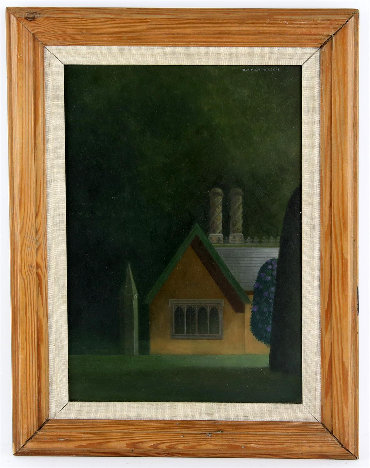 Douglas Wilson (British, b.1936). Haunted Lodge House with Rhododendrons. Oil on board, - Image 2 of 4