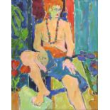Susan Kirkman (20th century). Portrait of a seated girl. Oil on canvas. Signed with initials lower