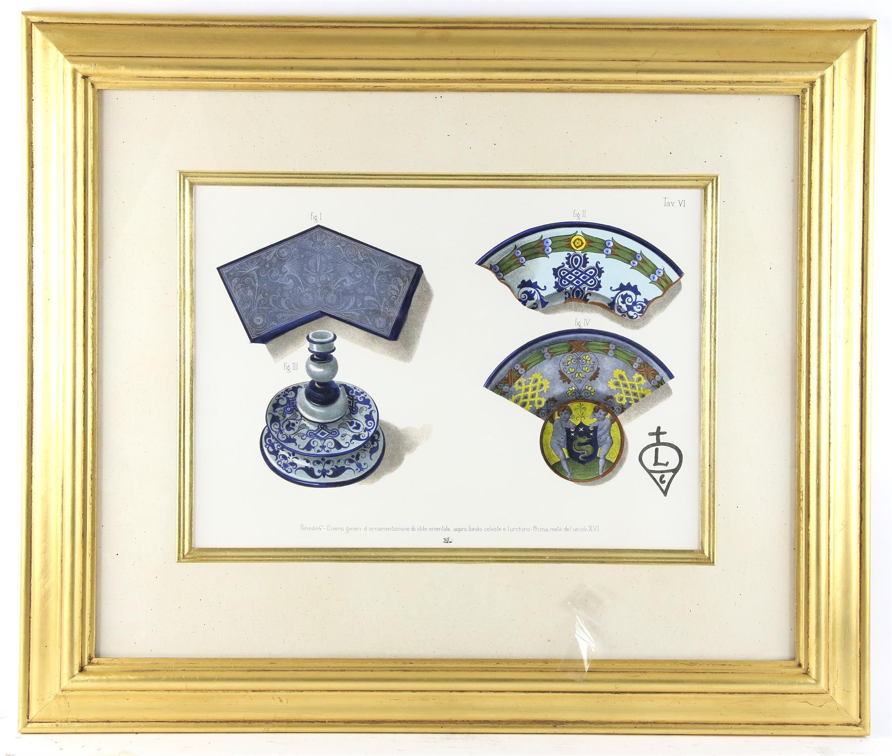 Five contemporary Italian lithographs, depicting ceramics of various Italian origins, - Image 9 of 10