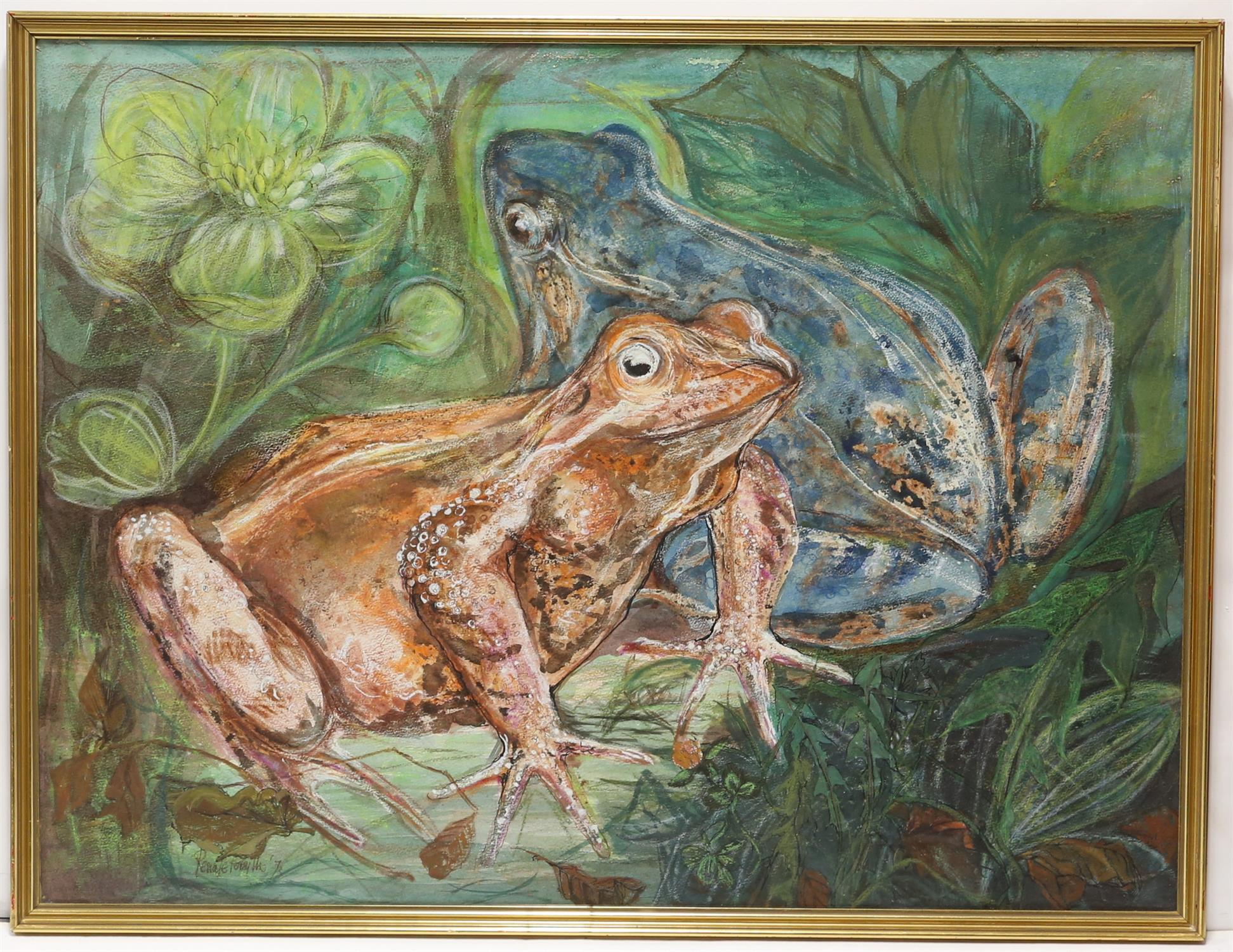 Renate Forsyth, 'Frogs', wax and wash on paper, signed and dated '72 lower left, 57 x 76cm, - Image 2 of 6