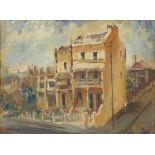 Robert Sperring (Australian, b.1929). Street Scene. Inscribed verso 'Sydney Terraces' oil on board,