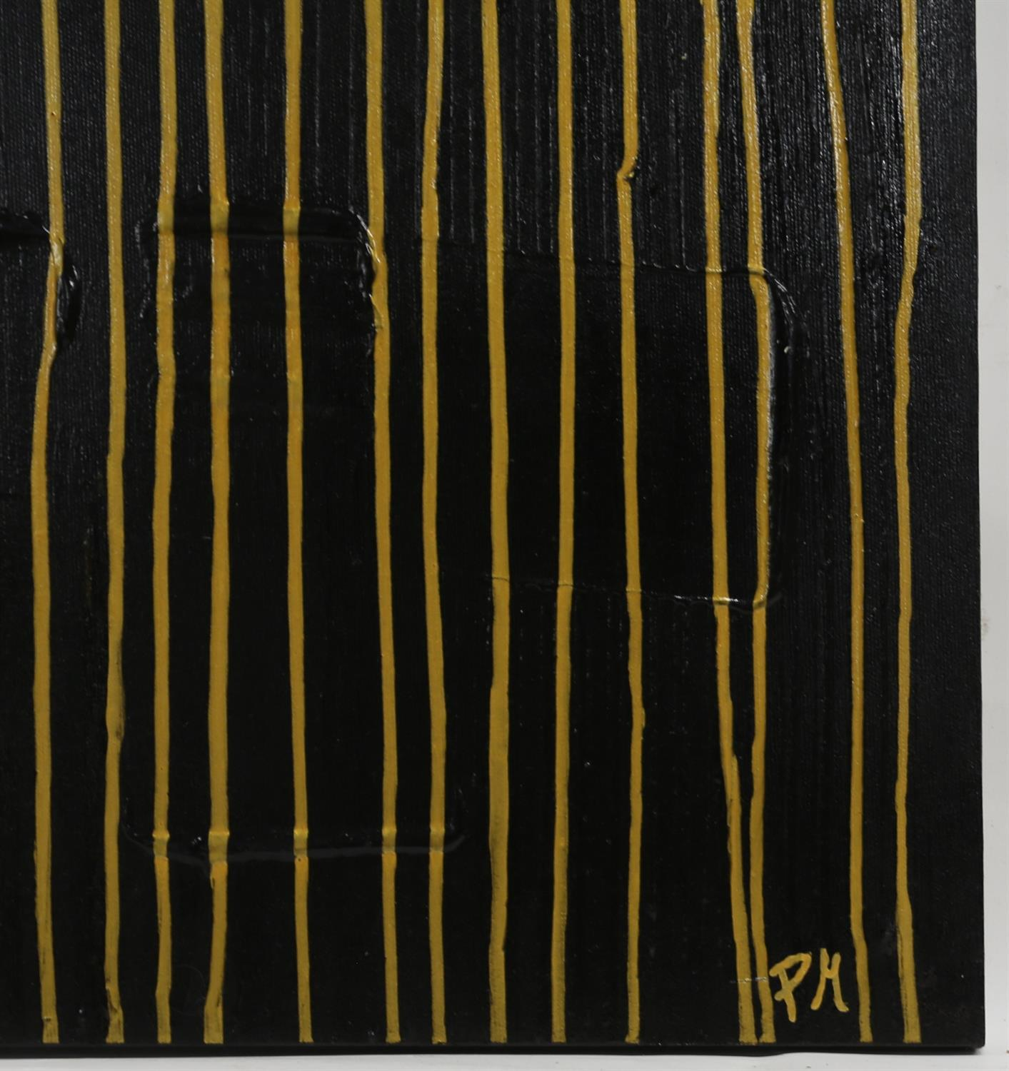 Piero Montanelli, 20th/21st century, abstract composition, black on gold, signed with initials and - Image 2 of 2