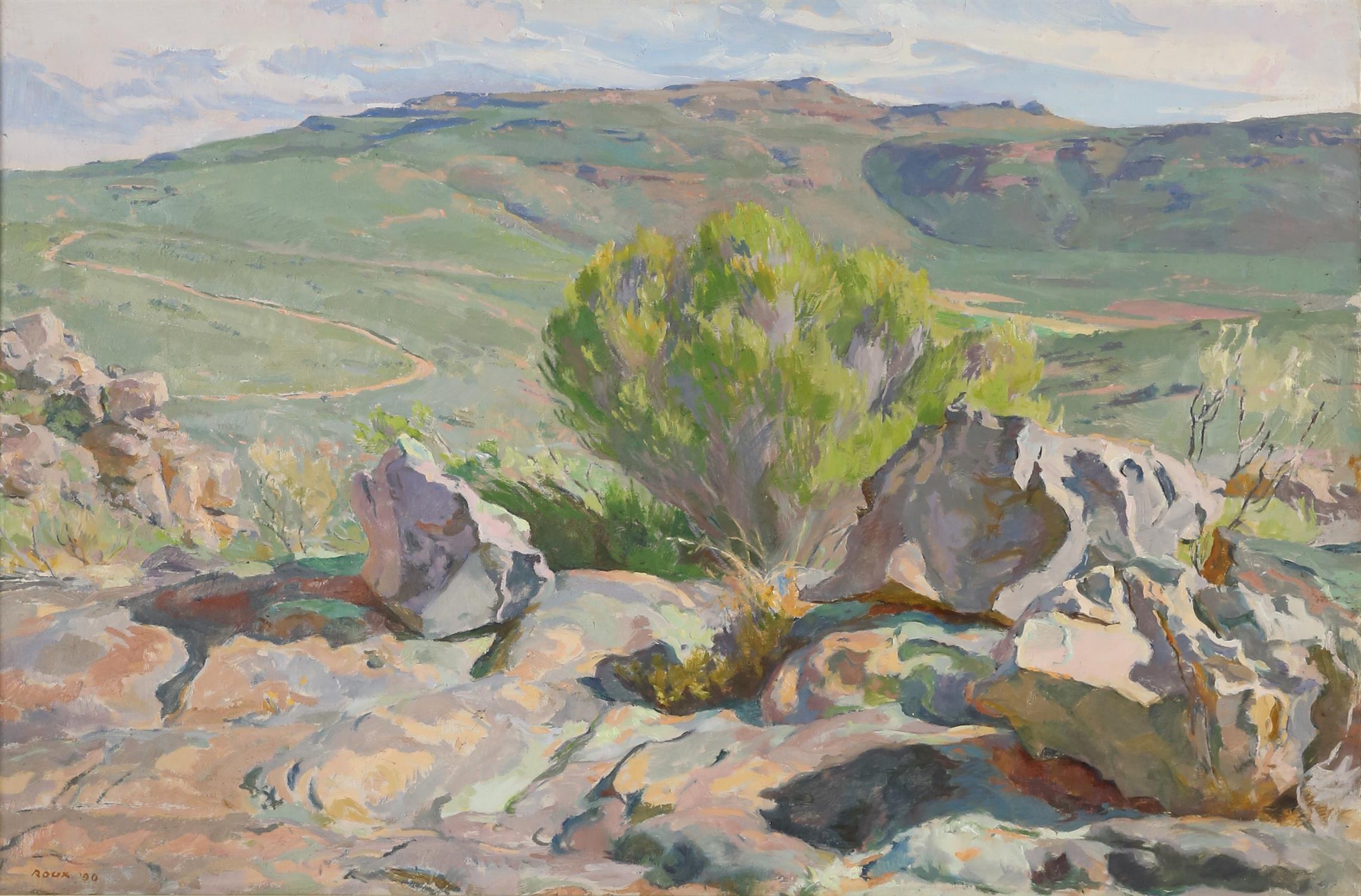Francois Roux (South African, b. 1927). Cederberg, mountainous landscape. Oil on canvas,