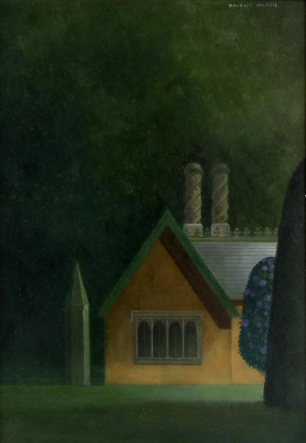Douglas Wilson (British, b.1936). Haunted Lodge House with Rhododendrons. Oil on board,