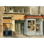 Gordon Davies (1926-2007). The Shoemenders Shop. Oil on board, signed lower right.