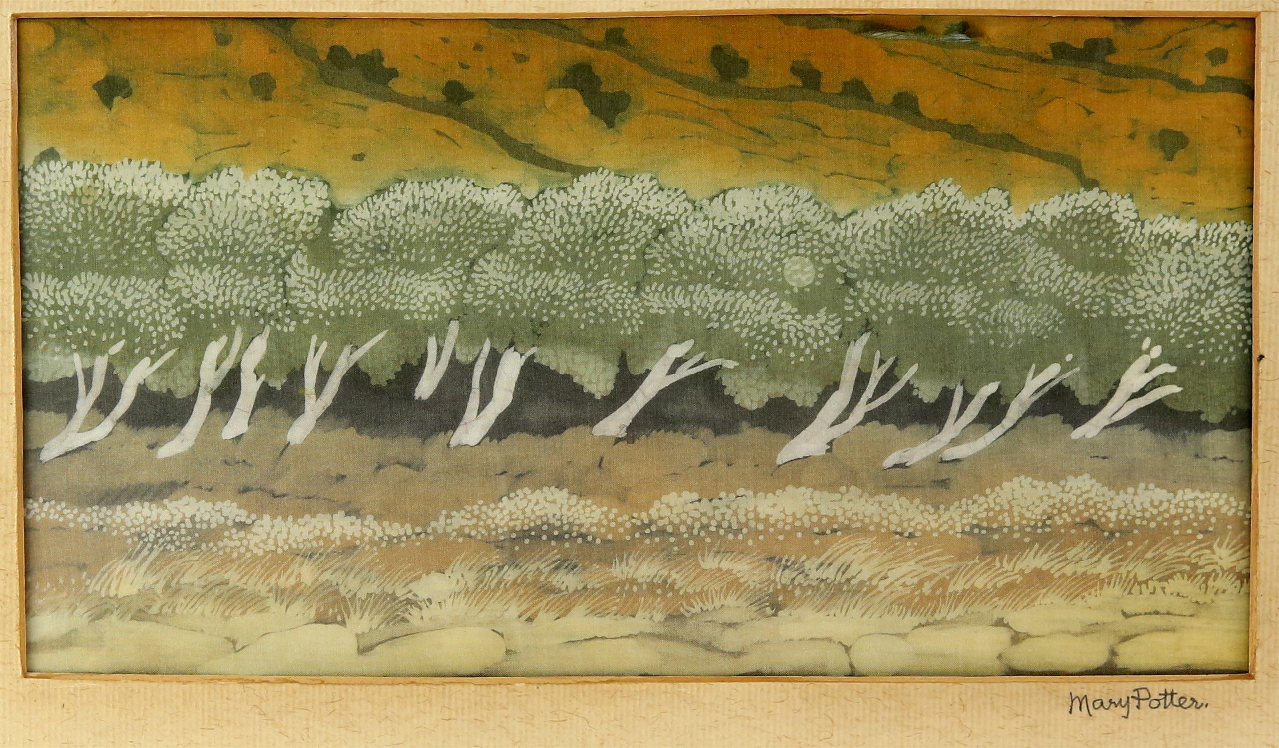 After Mary Potter, reproduction print on silk, 'Wind In The Olive Trees', framed and mounted with