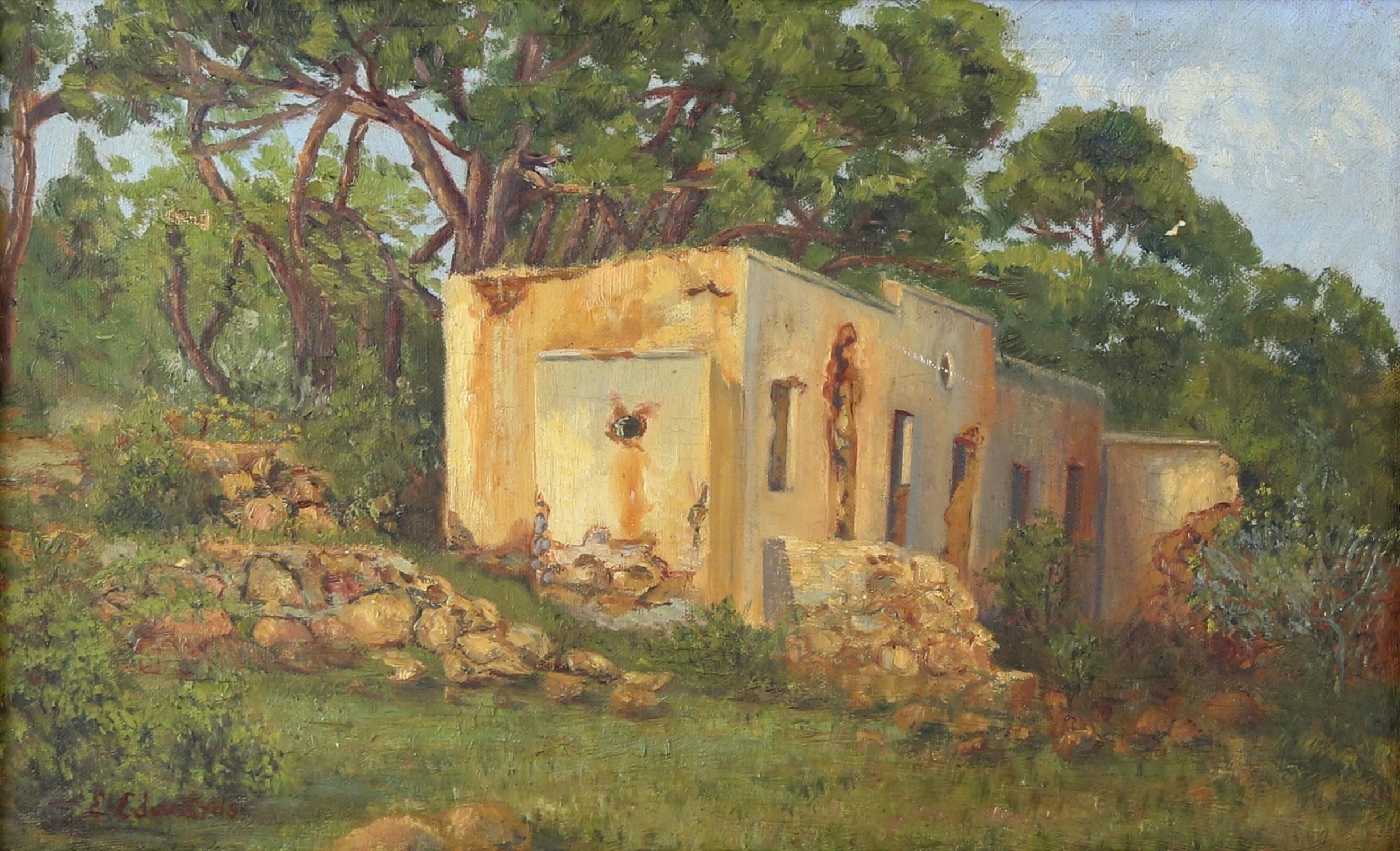 E Edwards, Ruined building in a South African woodland, oil on canvas, signed lower left, 24 x 39cm