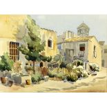 Deborah Jones. Continental village, watercolour on paper, signed and dated '53 lower right. 27 x 36.