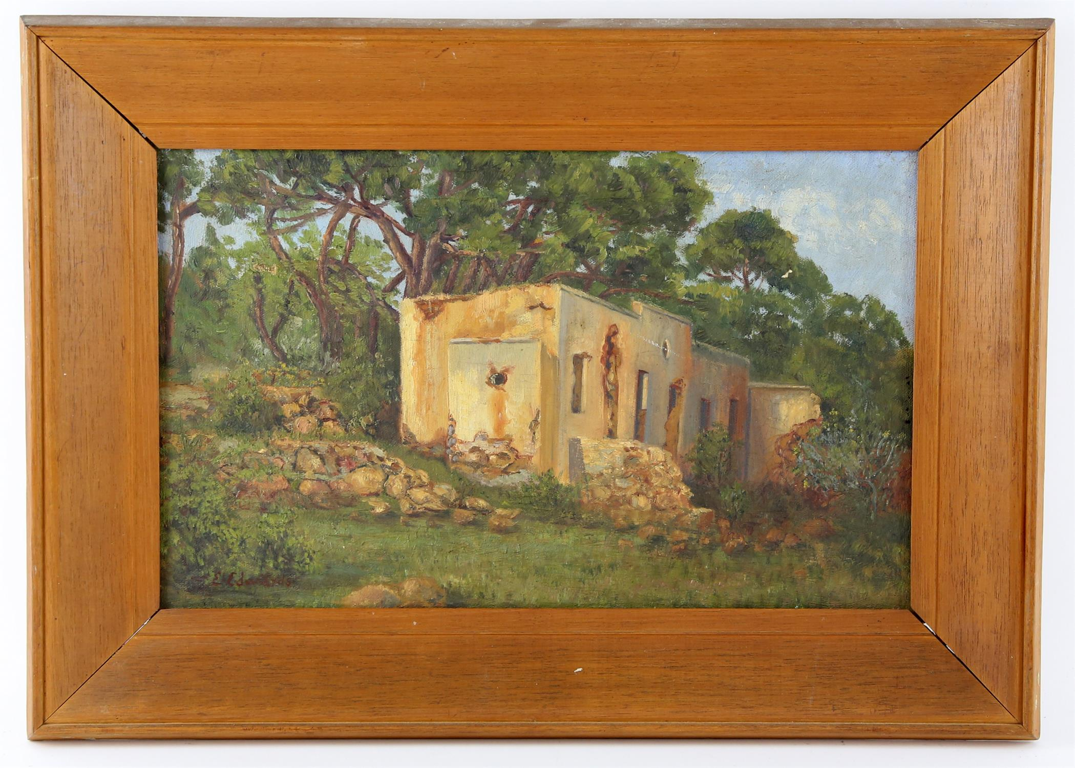 E Edwards, Ruined building in a South African woodland, oil on canvas, signed lower left, 24 x 39cm - Image 2 of 2