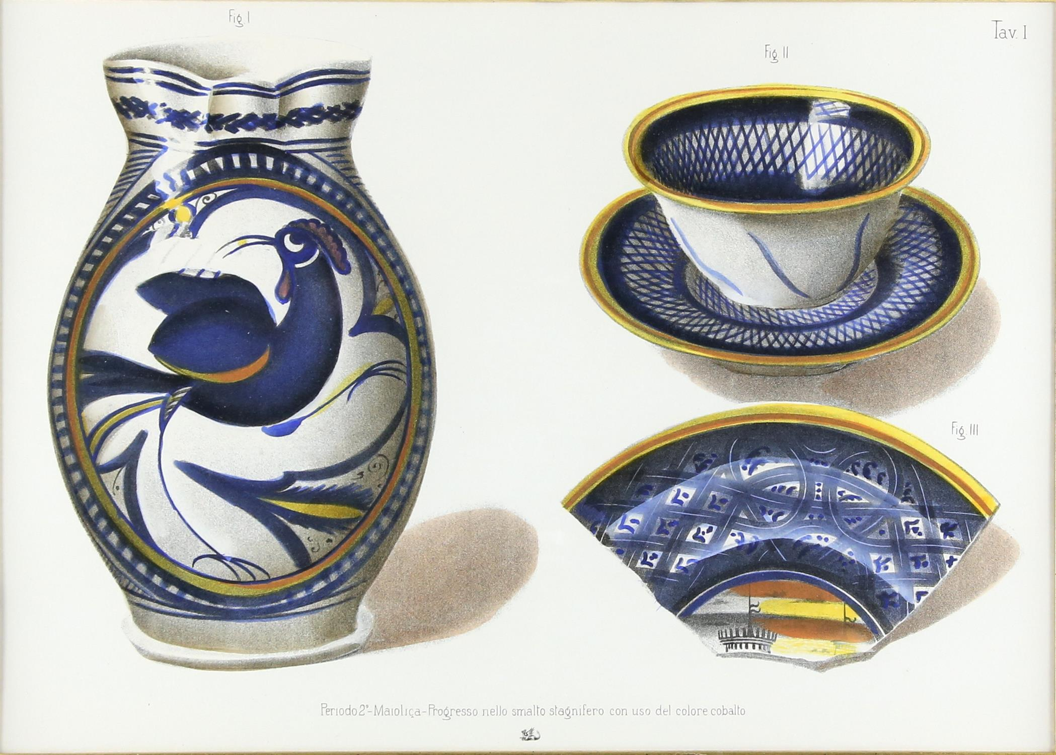 Five contemporary Italian lithographs, depicting ceramics of various Italian origins,