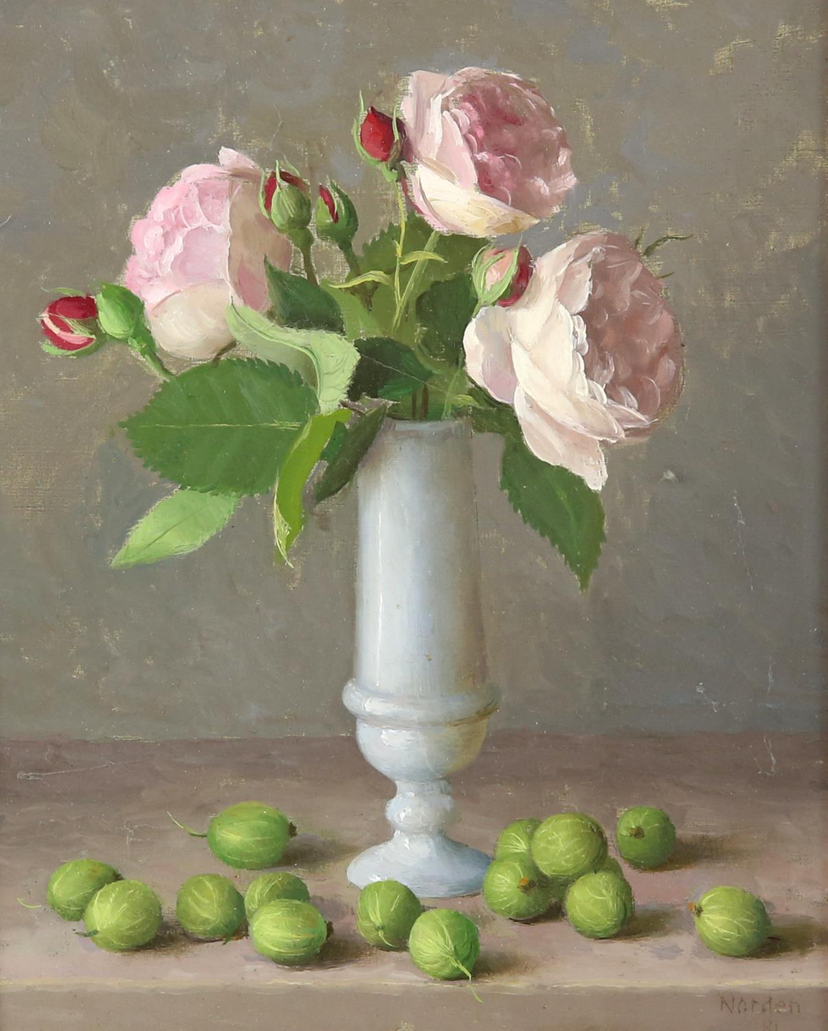 Gerald Norden (British,1912-2000). 'Roses and Gooseberries. Oil on panel. 1981. Signed and dated