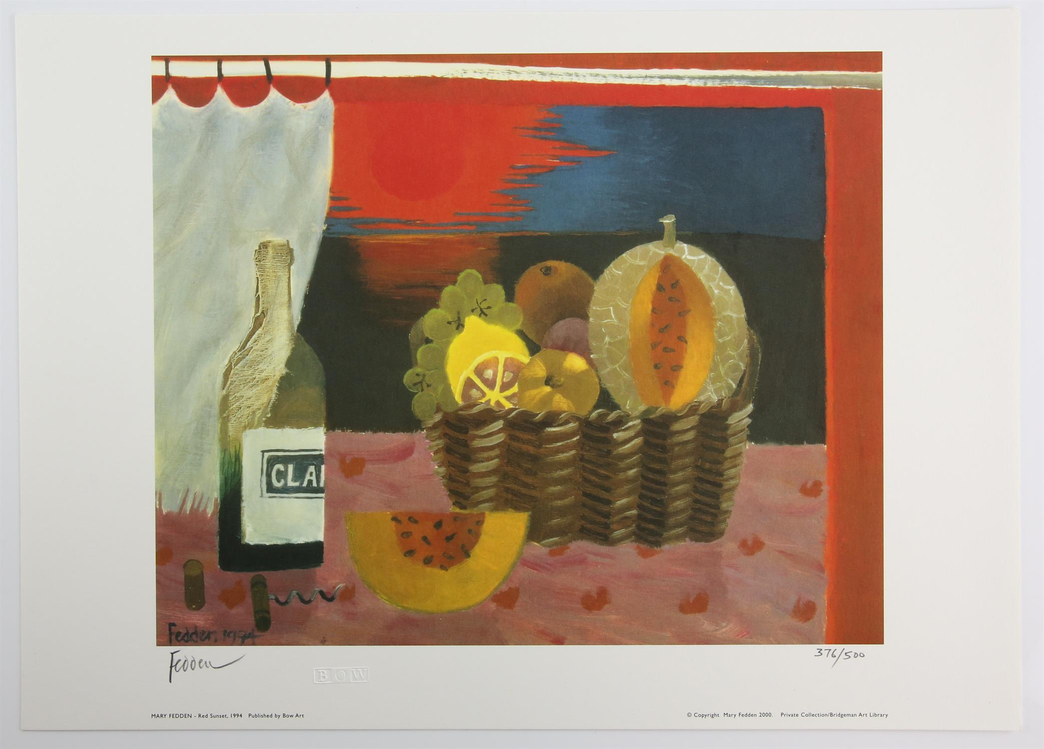 Mary Fedden (British, 1915-2012), 'Red Sunset', lithograph, signed and numbered 376/500 in pencil - Image 2 of 2
