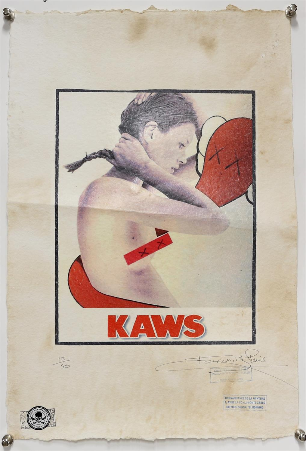 Kaws and Fairchild Paris, limited-edition print featuring Kate Moss. Lithograph on handmade paper.