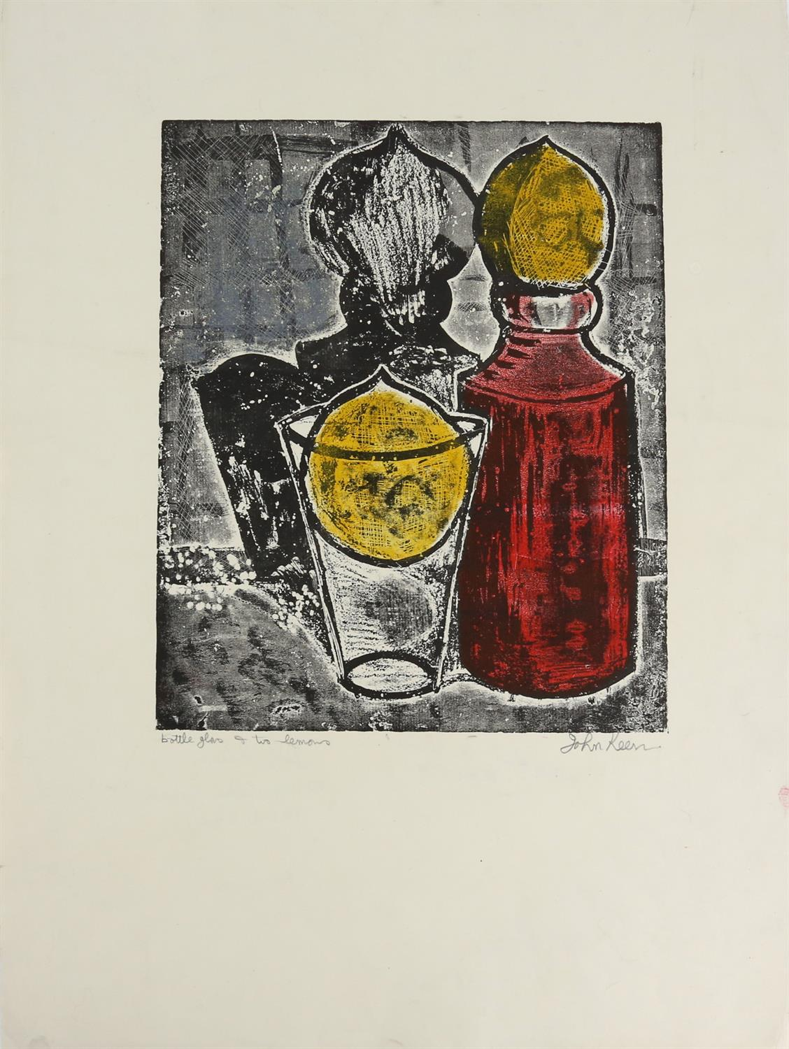 John Keen (British, 1924-2019). 'Bottle Glass & Two Lemons', print in colours, signed and titled. - Image 2 of 3