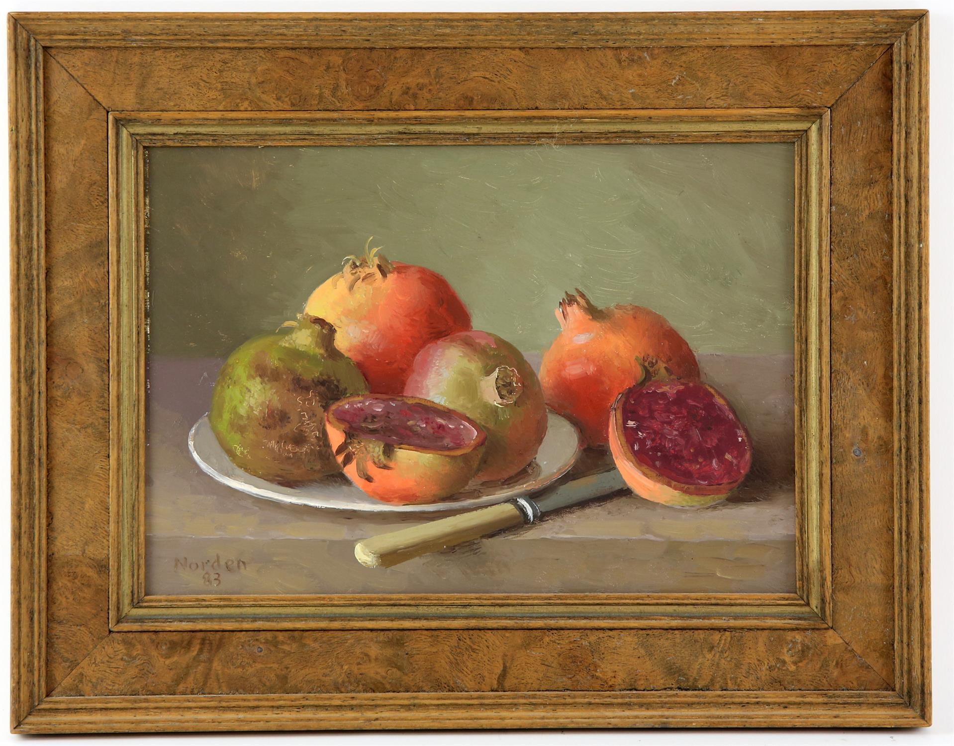 Gerald Norden (British,1912-2000). 'Pomegranates'. Oil on board 1983. Signed lower left. - Image 2 of 2