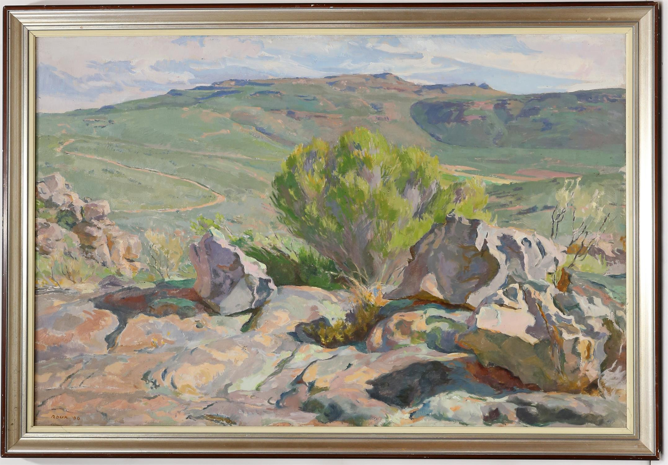 Francois Roux (South African, b. 1927). Cederberg, mountainous landscape. Oil on canvas, - Image 2 of 3