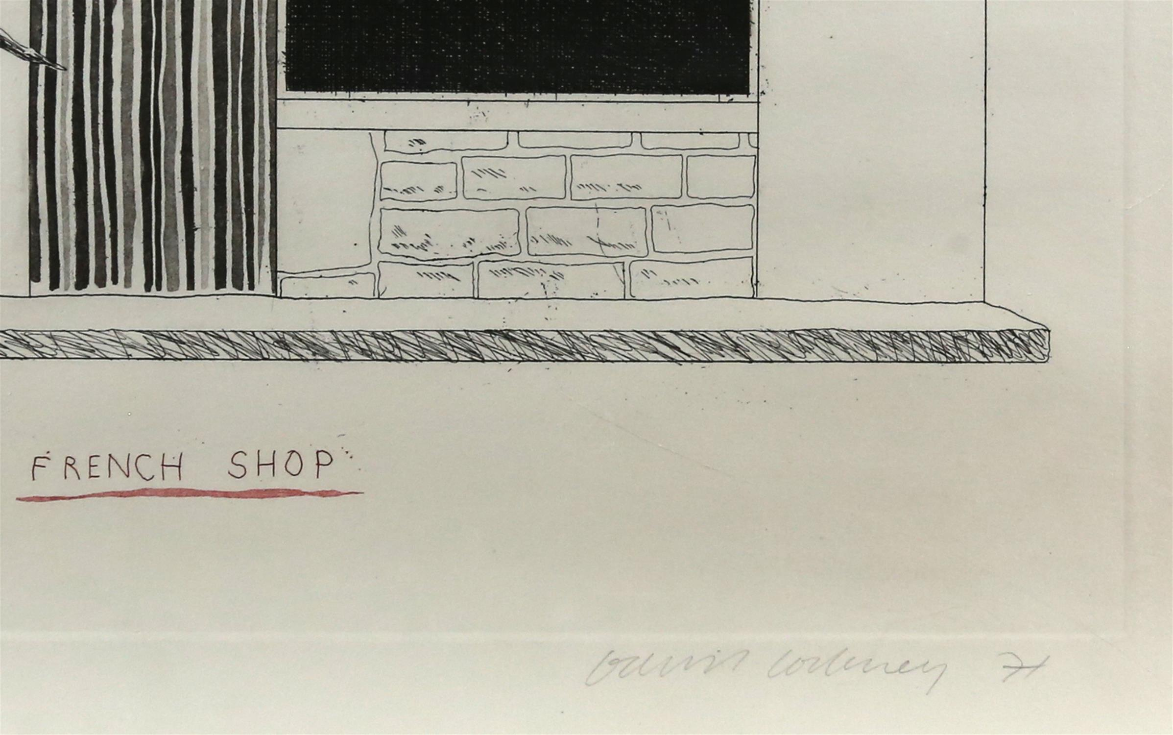 § David Hockney (British, b.1937). 'French Shop', etching and aquatint, signed and dated '71 in - Image 3 of 4
