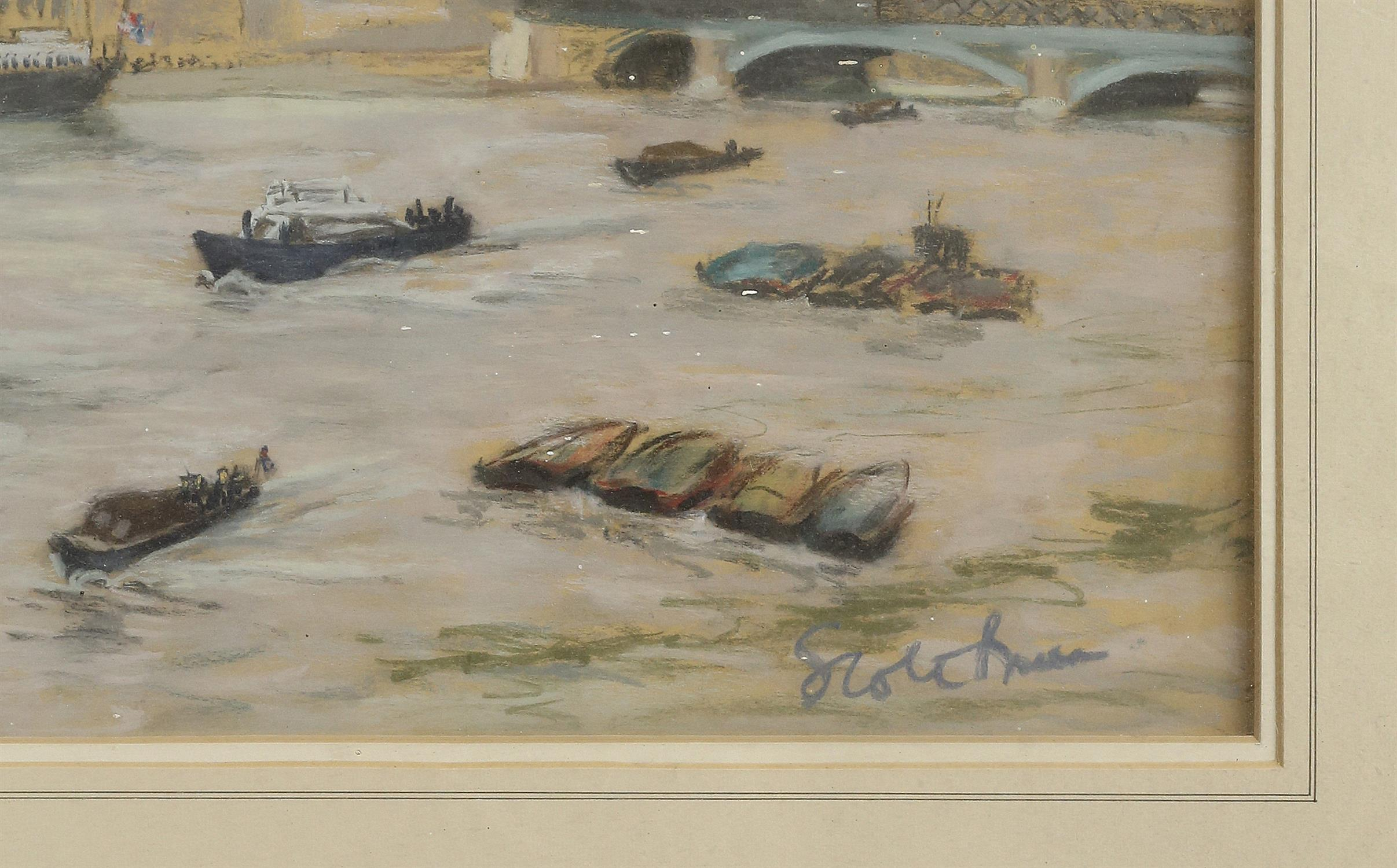 Walter Graham Scott Brown (1887-1987). Boats in the Pool of London. Pastel, signed lower right and - Image 3 of 3