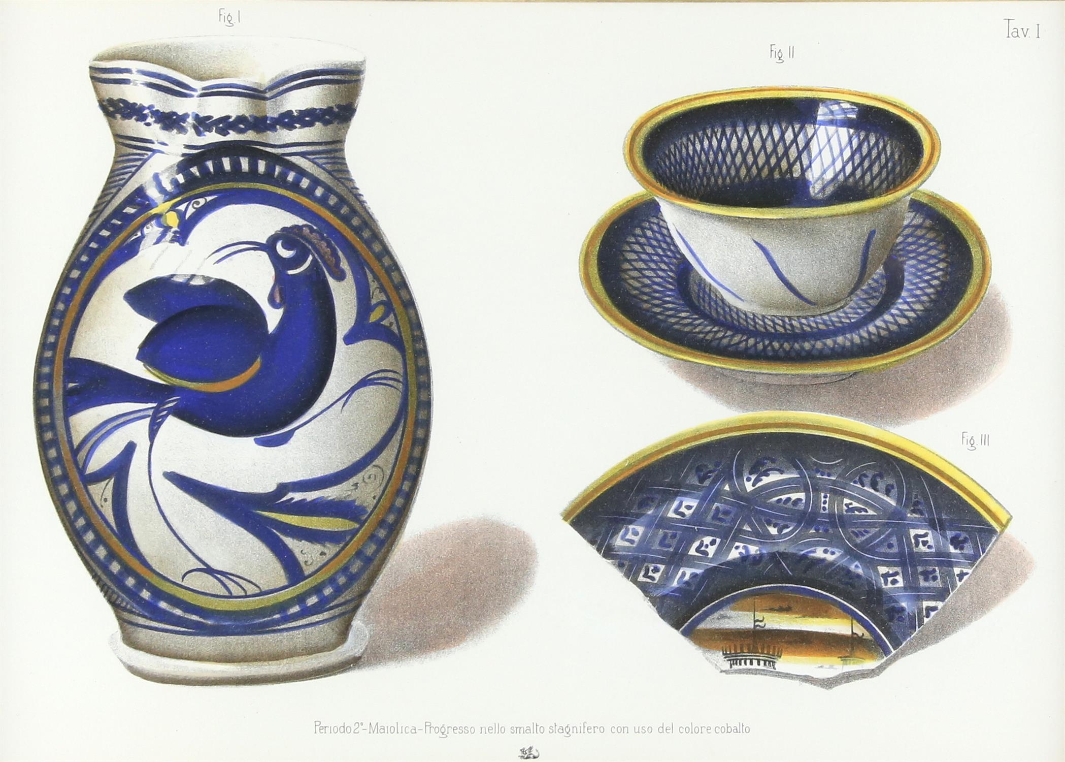 Five contemporary Italian lithographs, depicting ceramics of various Italian origins, - Image 6 of 10