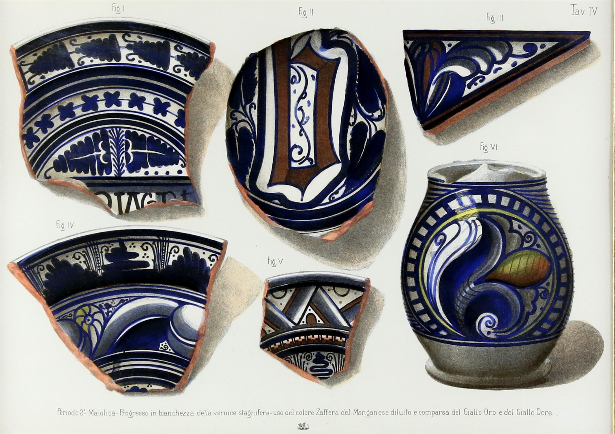 Five contemporary Italian lithographs, depicting ceramics of various Italian origins, - Image 10 of 10