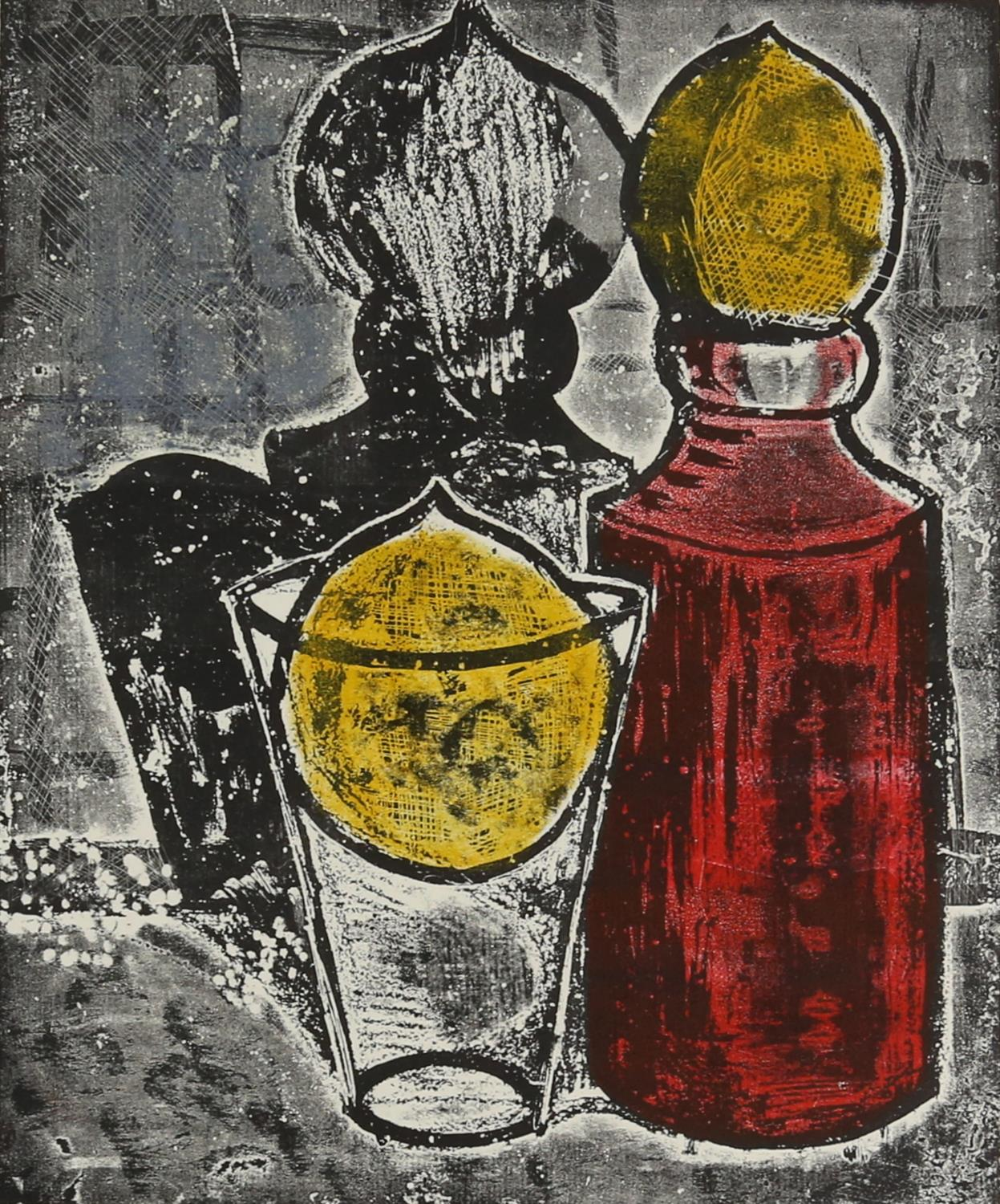 John Keen (British, 1924-2019). 'Bottle Glass & Two Lemons', print in colours, signed and titled.